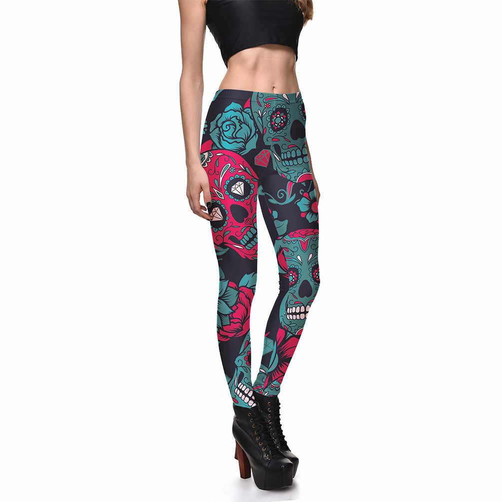 bcad11f25bd84d Hot Leggings for Women Ladies Red Green Sugar Skull Leggings Plus Size Skulls  Mexico Holiday Halloween