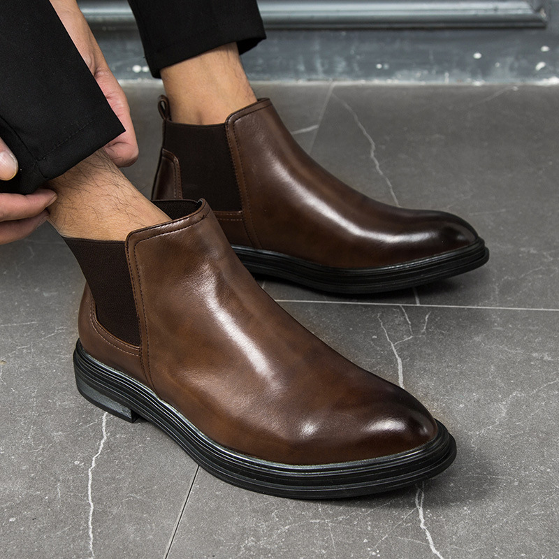 New 2019 Autumn Early Winter Shoes Men Chelsea Boots Man Leather Winter Shoes Fashion Business Footwear Men Ankle Boots A1685