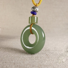 Drop Shipping XinJiang HeTian Jade Pendant Necklace Safety Button PingAnKou Amulet Pair Lovers With Chain For Women Men