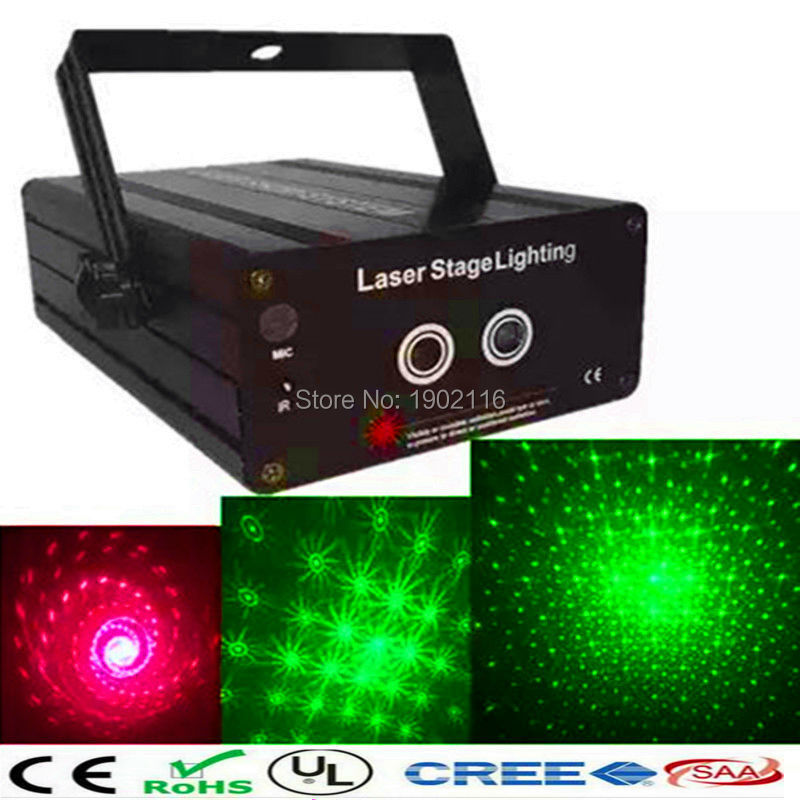 ФОТО  RG 2 Lens 24 Patterns Mixing Laser Projector Stage Lighting Effect red green LED Stage Lights Show Disco DJ Party Lighting