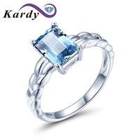 Kardy Elegant Design Marine Blue Gemstone Aquamarine 14K Solid White Gold Bridal Wedding Promise Women's Ring