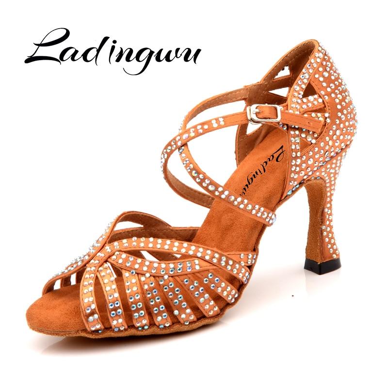 Ladingwu NEW Dance Shoes Latin Women Laser Rhinestone Bronze Silk Satin Skin Color Black Ballroom Dance