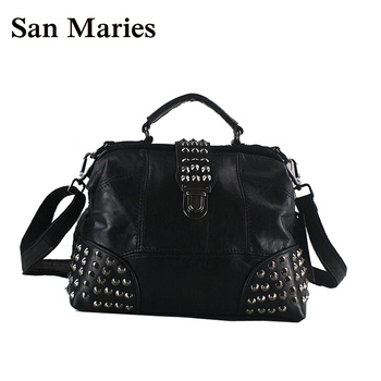 San Maries Brand Genuine Leather Women Messenger Bag Patchwork Sheepskin Leather Doctor Bags Rivet Small Tote doctor bag