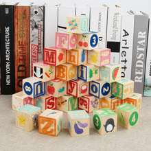 Kids Montessori Alphabet Letters Digital Early Learning Resources Wooden ABC Cube Blocks Educational Toys Gifts For Children 26 pieces cartoon colorful wooden abc alphabet letters cube blocks stacking cognition toy kids baby developmental