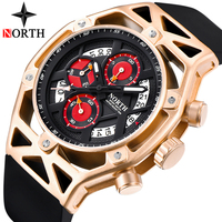 Relogio Masculino NORTH Mens Watches Top Brand Luxury Quartz Watch Men Casual Chronograph Military Waterproof Sport Wrist Watch