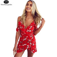 Sexy Off Shoulder V Neck Spaghetti Strap Floral Print Women S Frill Wrap Dress Mini Dress
