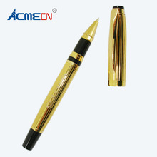 ACMECN Luxury Metal Brass Gold Roller Pen Medium Nib Carved Thread Design Liquid Roller Tip Pen with Black Accent Gel ink Pens dika wen luxury fashion beautiful golden carving mahogany paint medium nib roller ball pen new