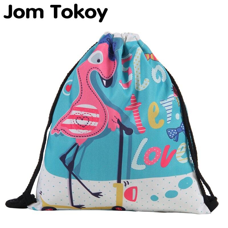 Jom Tokoy Fashion Drawstring Bag 3D Printing Mochila Feminina Drawstring Backpack Women Daily Casual Girl's Knapsack 29040