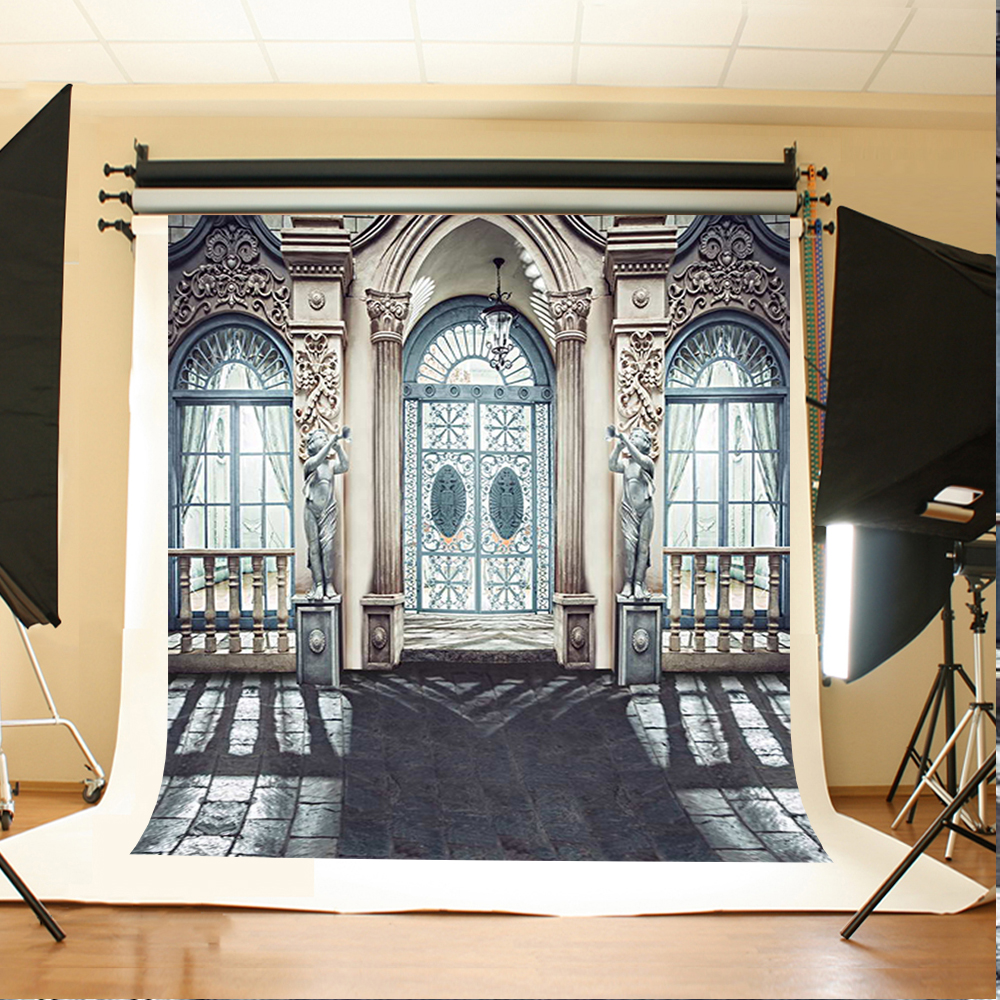 Wedding Photography Backdrops Sun Window Door Photocall for Wedding Gray Stone Brick Floor Background for Photographic Studio
