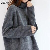 JECH Зима Новая мода кашемир для женщин теплые однотонные свитеры для повседневное длинный рукав водолазка свободные пуловеры
