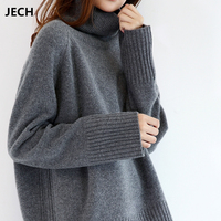 JECH Winter New Fashion Cashmere Wool Women Warm Solid Sweaters Casual Full Sleeve Turtleneck Loose Pullovers Computer Knitted