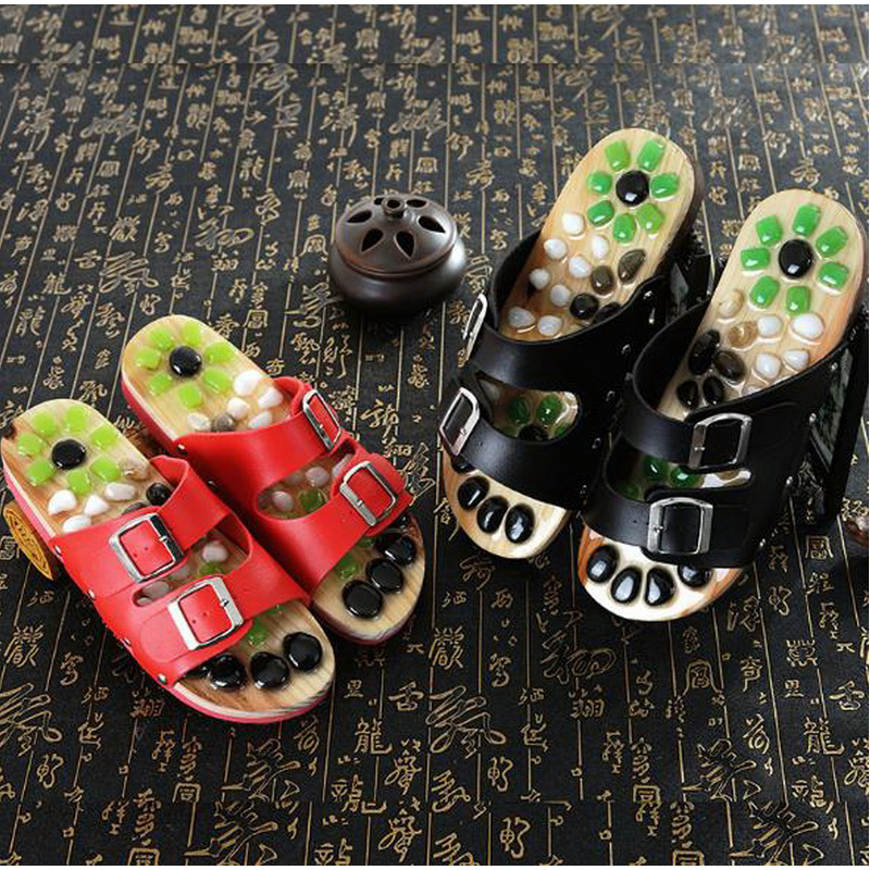 170605/Pebbles acupress foot foot massage shoes/men and women agate massage shoes/home large size couple cool slippers  natural pebble foot massage slippers point massage shoes men and women couple home skid shoes tb20903