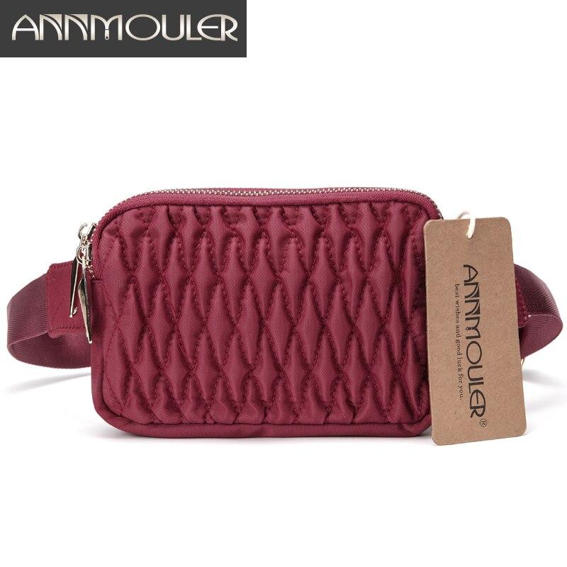 Annmouler Women Waist Packs Waterproof Fanny Pack 3 Colors Phone Belt Bag Polyester Chest Bag Double Pocket New Hip Waist Bags