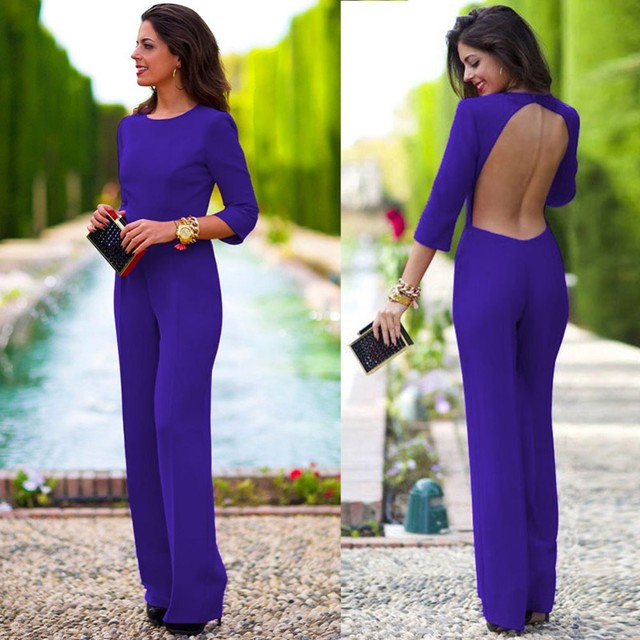 2017 Europe New Brand Women Jumpsuit Chiffon Plus Size Sexy Backless Hallow Out Long Sleeve Long Pants Fashion Party Jumpsuits