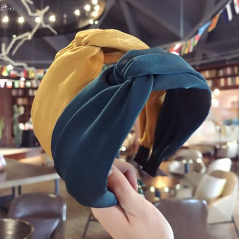 AOMU Solid Soft Knotted Headband Hairband For Women Wide Cross Hair Hoop Korea Fabric Hair Accessories   Headwear