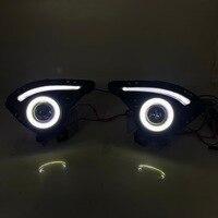 RQXR fog lamp driving light assembly For Mazda 2 demio cob angel eye led daytime running lights turn signal