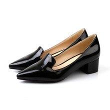 ปั๊มรองเท้าผู้หญิงสิทธิบัตรหนังใหม่47 46 45 44 43 40 41ส้นสูง4.5เซนติเมตรส้นหนาขนาดEUR 33-48