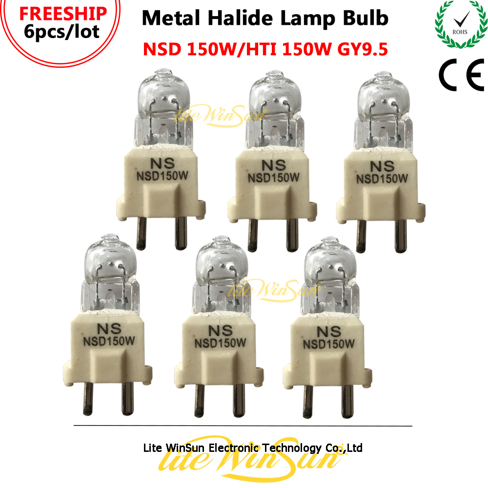 Litewinsune 6pcs/Pack HTI 150W NSD 150W GY9.5 Base HMI150 Metal Halide Lamp Stage Lighting Source