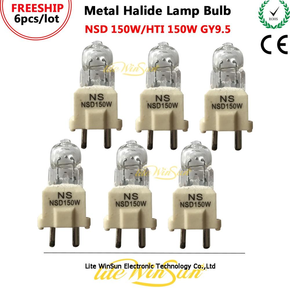 Litewinsune 6pcs/Pack HTI 150W NSD 150W GY9.5 Base HMI150 Metal Halide Lamp Stage Lighting Source