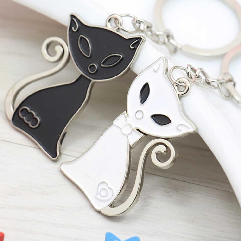 1 par New Fashion Black & White Cat Fox Pingentes Chaveiro Chaveiro Anéis & Anel Titular Chaveiro Porte decoração Presente
