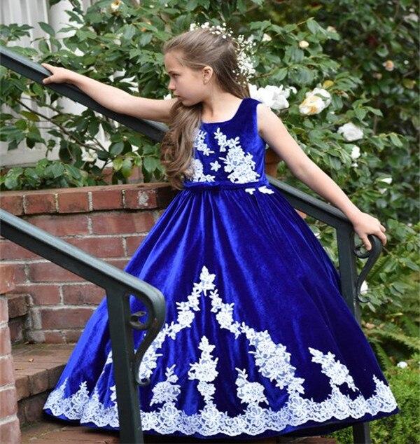 JaneVini Vintage bleu Royal filles robes 2018 blanc Applique velours longue princesse enfants fleur fille robes pour les mariages vacances - 4