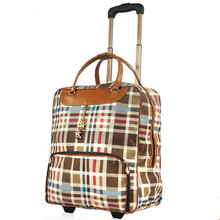 Free Shipping New arrival large capacity vintage the trend of trolley Luggage waterproof bag travel bag Plaid PU boarding bags
