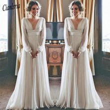 50aa1fd699ac Boho Beach Wedding Dresses 2019 Long Sleeves V Neck Plus Size Chiffon Cheap  Summer Maternity Country Greek Style Bridal Gowns