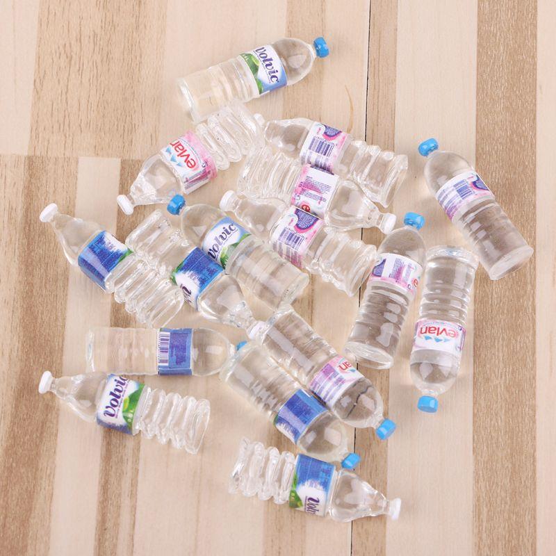 4pcs/set 1:12 Toy Water Bottles Set Dollhouse Miniature Drinking Accessories Baby Children Pretend Play Kitchen Toy Water Bottle