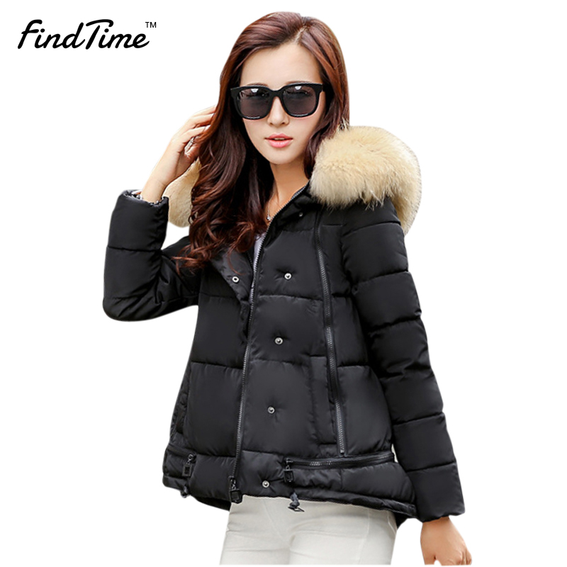 ФОТО Womens Winter Jackets And Coats 2017 Women's Parkas Thick Warm Faux Fur Collar Hooded Anorak Ladies Jacket Female Manteau Femme