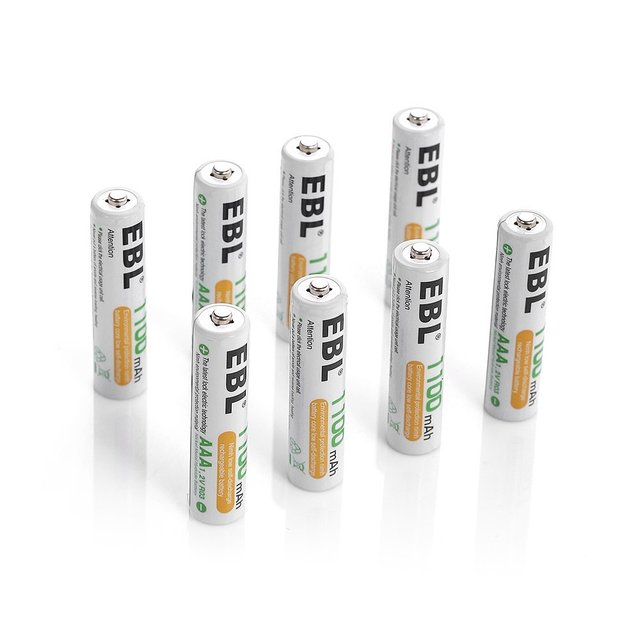 EBL 4 Bay Slot Charger Individual Rapid AA AAA Rechargeable Battery Charger with 8 Packs AAA 1100mAh 1.2v Battery Free Shipping