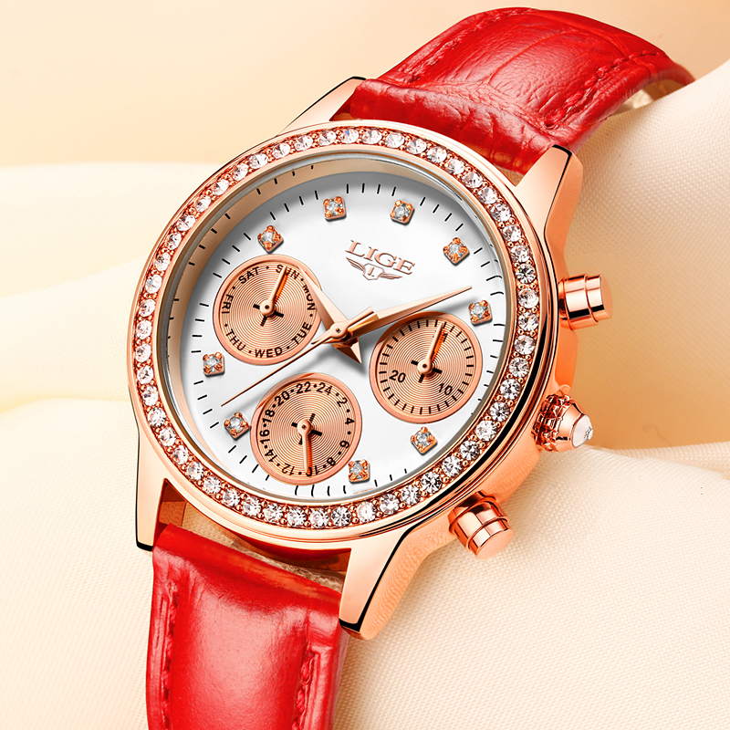 Ladies Dress Women Watches Relogio feminino LIGE Luxury Brand Girl Quartz Watch Casual Leather Watches Women Clock Montre Femme sinobi ceramic watch women watches luxury women s watches week date ladies watch clock montre femme relogio feminino reloj mujer