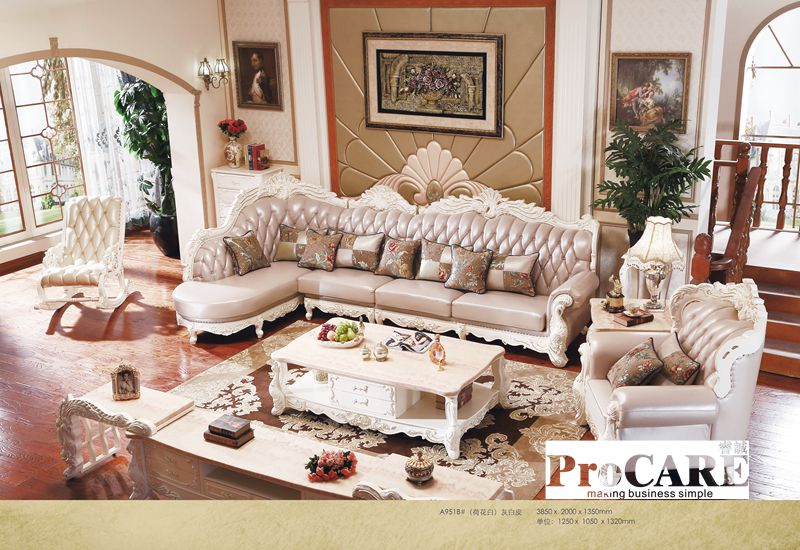 US $3091.0  luxury antique France style genuine leather sofa set for living  room furniture, oak solid wood sofa made in china-in Living Room Sofas ...