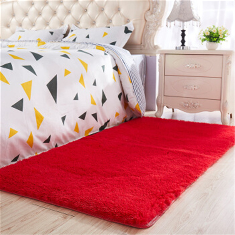 Nordic Style Long Hair Carpet Living Room Coffee Table Blanket Bedroom Bedside Mat Thickened Washed Silk Hair Non-slip Rug