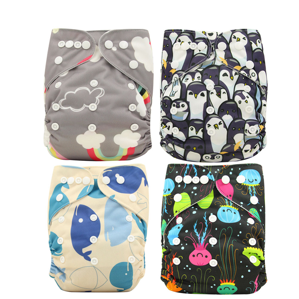 Reusable Washable Cloth Diaper Cover Couche Lavable 2019 Brand Newborn Baby Diaper Character Print Bamboo Diaper