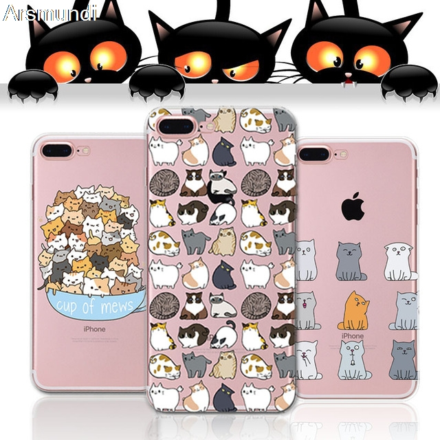 2018 Fashion Cute Cat Phone Cases For Iphone 4S 5C 5S 6 6S 7 8 Plus X For Oppo Case Crystal Clear Soft TPU Cover Cases