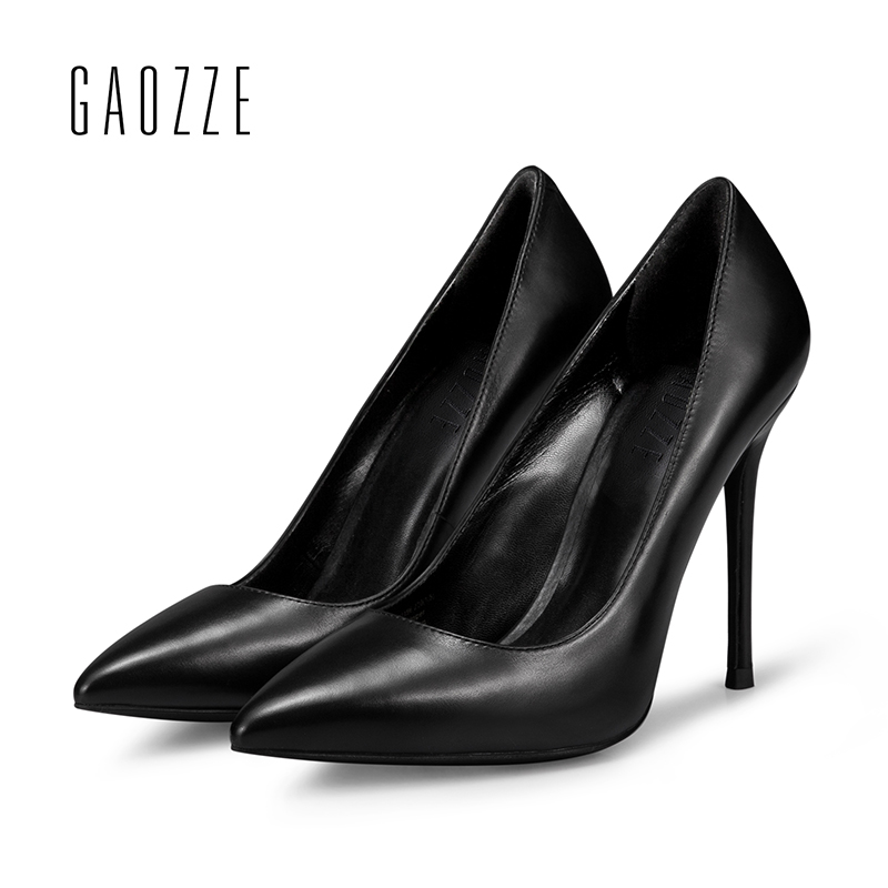GAOZZE Fashion Pointed Toe Classical Design Women Pumps Genuine Leather 10CM Sexy High Heels Female Black Formal Dress Shoes women classical design silver pointed toe transparent pumps ankle buckle design 12cm high heels formal dress shoes