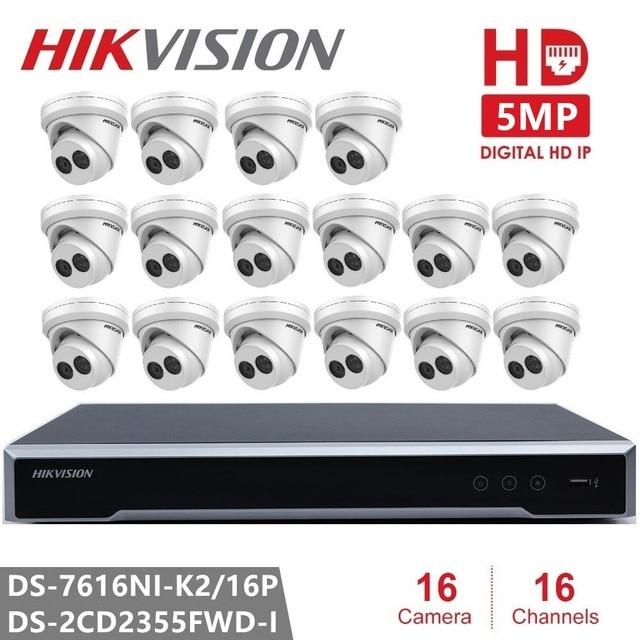 Hikvision 16CH Network POE NVR Kit CCTV Security System 16CH NVR + 16PCS Camera 5MP IP Camera Night Vision Surveillance Set