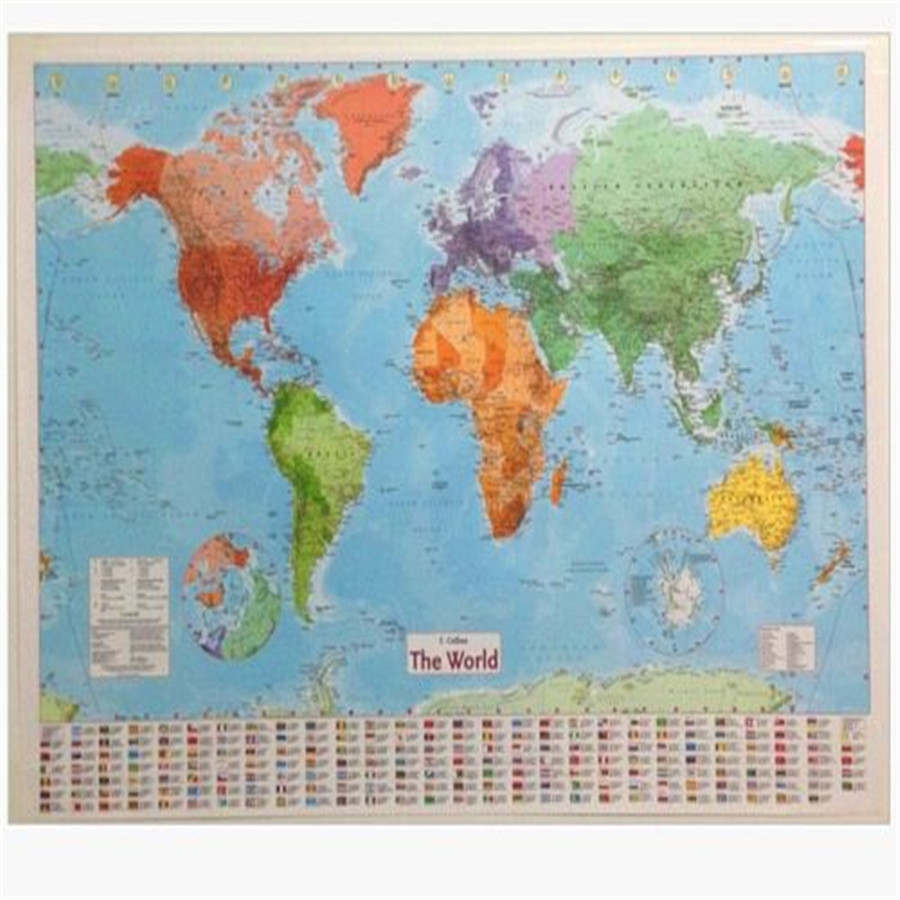 World political map in russian language not english world map wall fd3189 new large map of the world wall chart political flags poster home art 98cm gumiabroncs Images