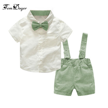 Tem Doger Baby Boy Clothing Set 2018 New Summer Infant Boys Clothes Tie Shirts+Overalls 2PCS Outfit Sets Bebes Gentlemen Suit