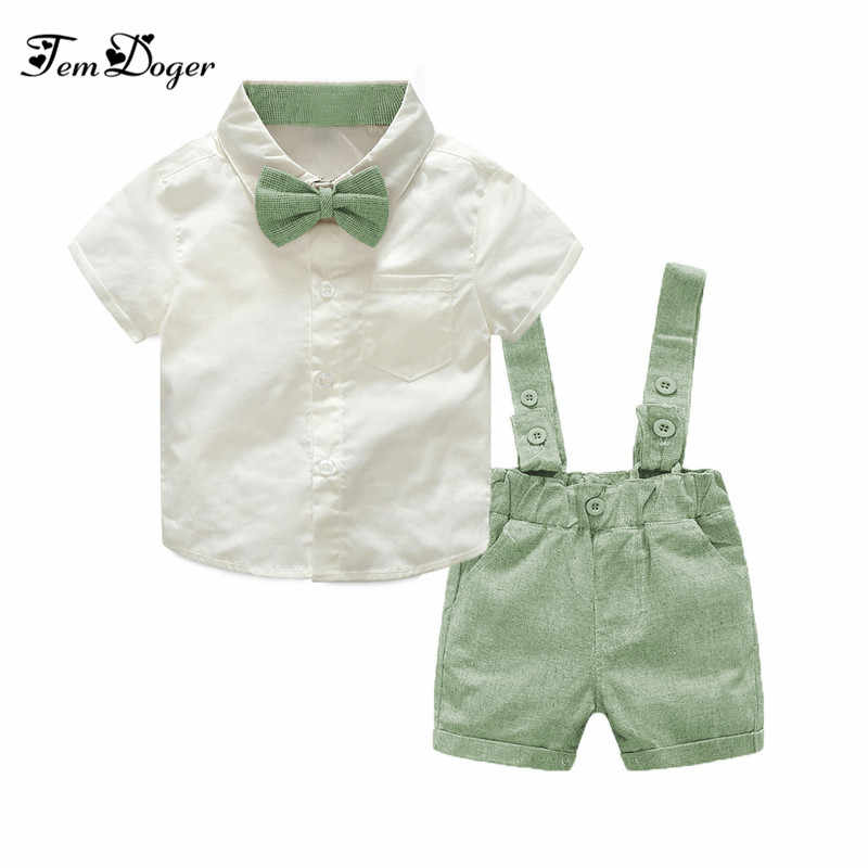 779a14423 Tem Doger Baby Boy Clothing Set 2018 New Summer Infant Boys Clothes Tie  Shirts+Overalls