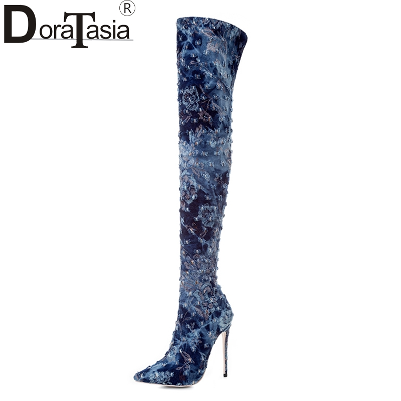 DoraTasia brand design Big Size 33-43 long Boots super thin high heels Women Shoes woman sexy denim Winter party wedding