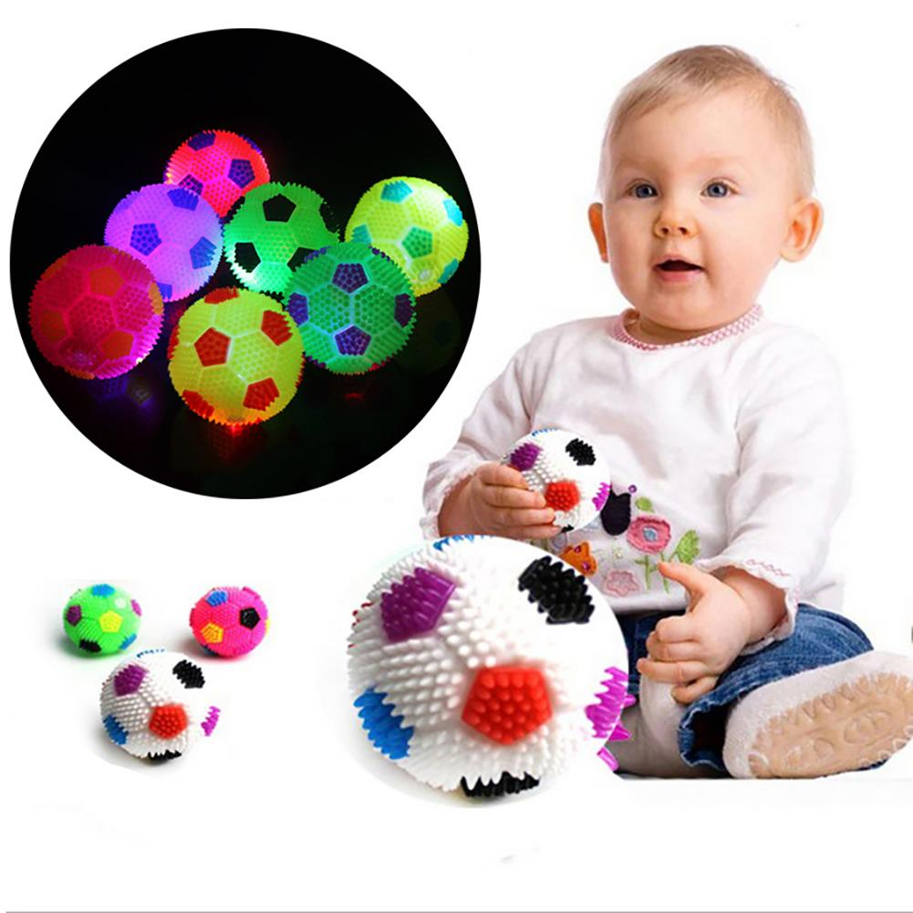 LED Flashing Bouncing Music Hedgehog Soccor Ball Football Squeeze Kids Toy Gift 2019