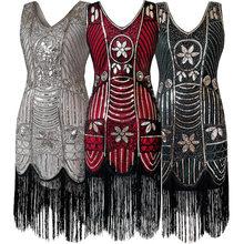 d0d55ead348 1920s Great Gatsby Dress Sequin Beading V Neck Tassel Flapper Dress Robe  Vintage Black Party Long Summer Dress Women Vestido