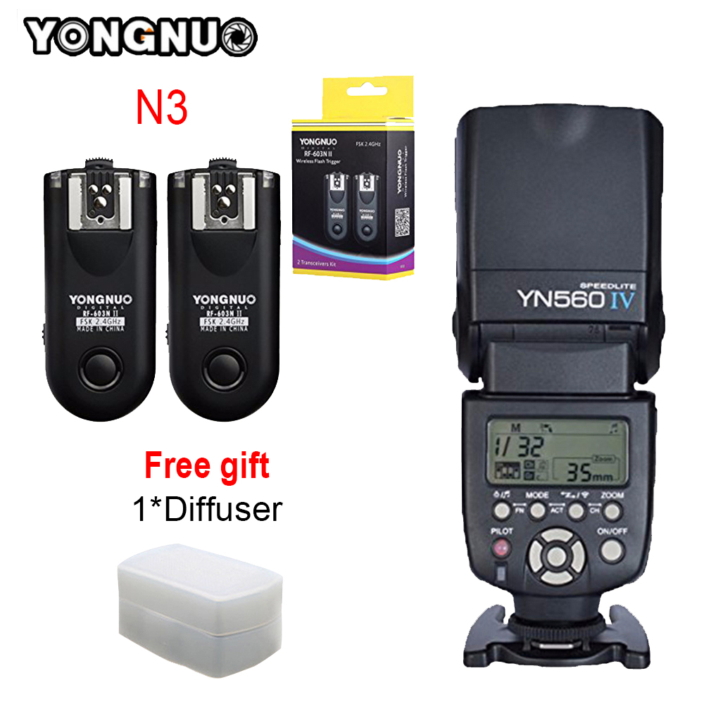 For Nikon D90 D7100 D7000 D3100 D5100 Camera YONGNUO YN560-IV YN560 IV YN560IV Speedlite + RF-603 II N3 RF603 II Flash Trigger yongnuo yn560 iv yn 560 iv master radio flash speedlite rf 603 ii wireless trigger receiver for canon nikon dslr camera