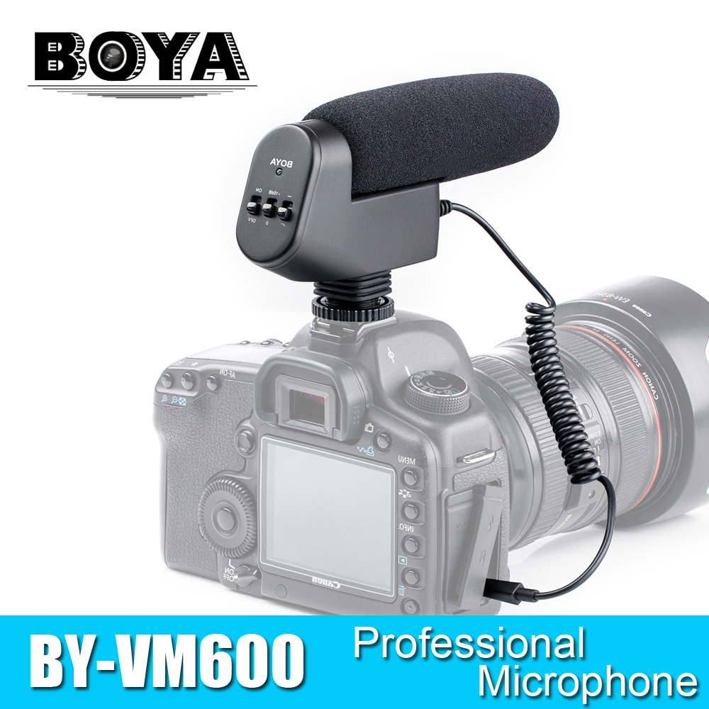 BOYA BY-VM600 Cardioid Directional Condenser Microphone Mic for Canon Sony Nikon Pentax DLSR Camera boya by vm200 pro condenser camera microphone for canon 5d2 nikon d800 sony dv camera mini camcorders