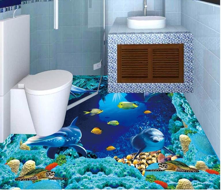 Custom Photo Wallpaper Floor Kids Room Vinyl Flooring Adhesives The Underwater World Tiles Stereoscopic Video In Wallpapers From Home