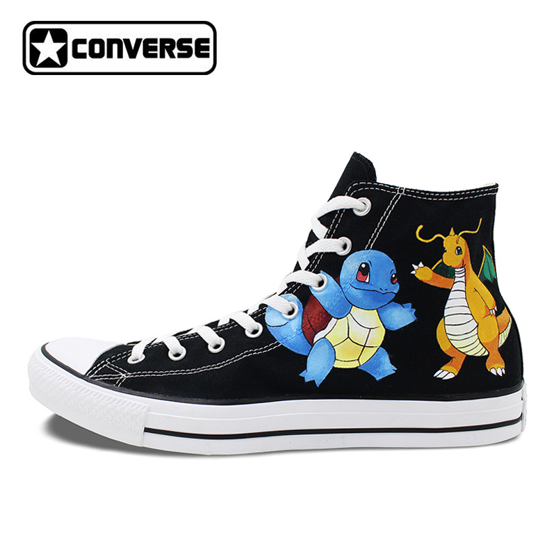 Pokemon Converse Shoes Woman Sneakers Design Squirtle Dragonite Hand Painted Anime Shoes All Star Brand Shoe Canvas