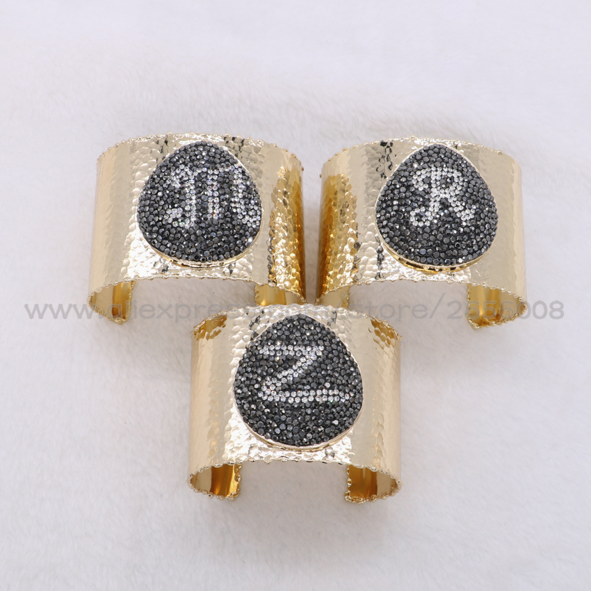 Wholesale 2017 Trendy big cuff pave black beads 26 English Letter shapes bangle bracelet cuff bangle