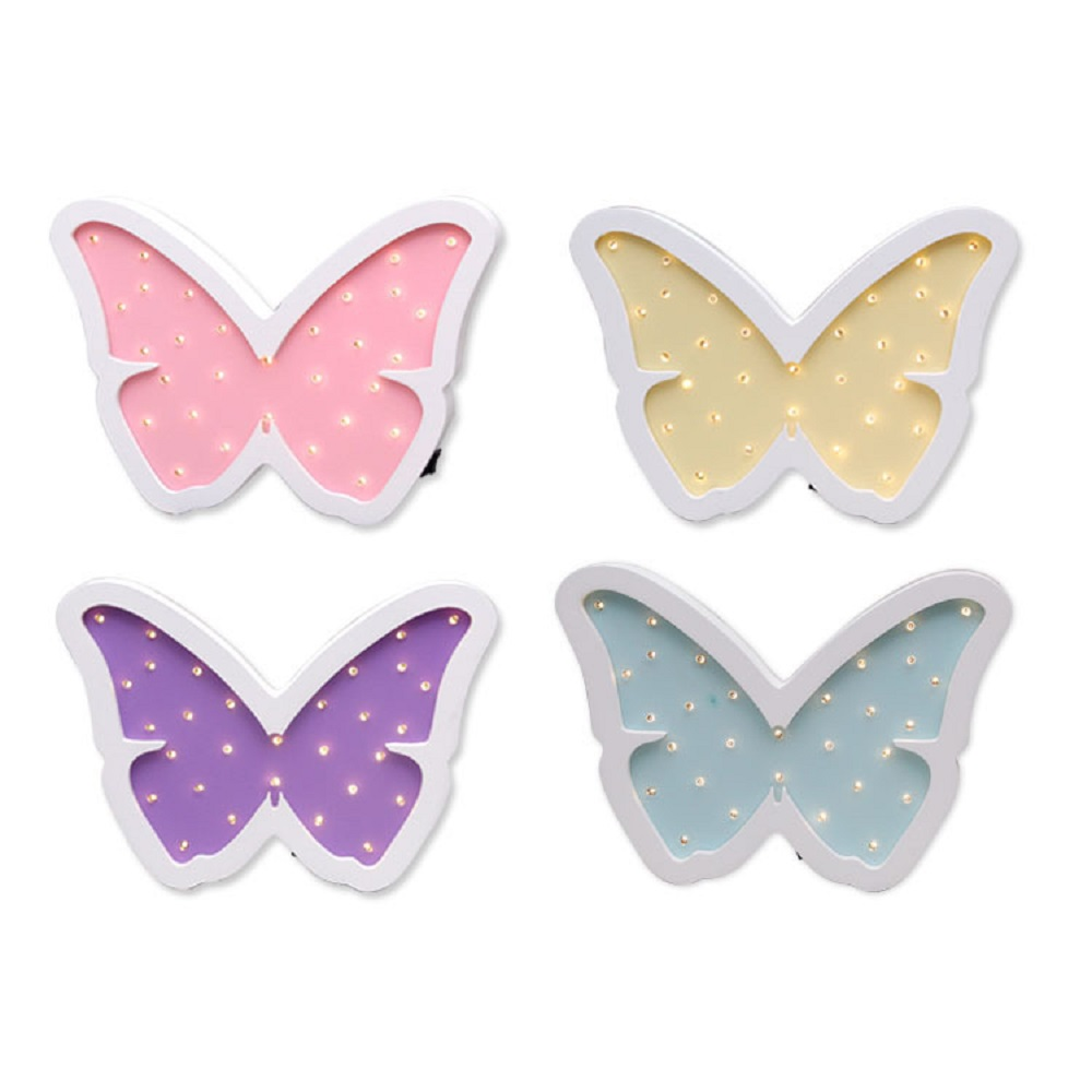 Cute Butterfly Decoration Lamp LED Night light Baby Girl room Decor Wood Modeling light Battery Powered IY304123 35|light battery|led night|lamp led night - title=