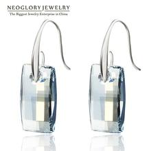 Neoglory MADE WITH SWAROVSKI ELEMENTS Blue Crystal Chandelier Hook Long Big Dangle Earrings for Women 2016 Bridesmaid JS9 JS4
